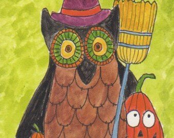 Witch Owl, original watercolor painting, 5 x 7 inches on aqua board, owl, Autumn art, unique,  Halloween, jack o lantern, painting on easel
