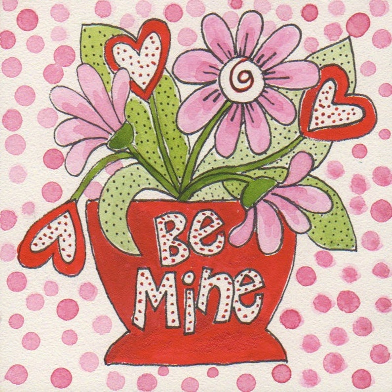 Be Mine hearts and flowers Valentines painting original  by image 0