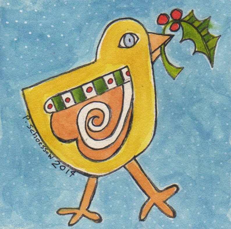 Christmas Chick Christmas art mini art chick with holly image 0