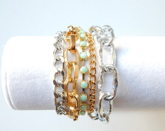 Mint Statement Bracelet chunky chain bracelet statement jewelry crystal rhinestone ROYALS