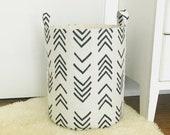 Printed Fabric Storage Laundry Hamper, Black Flame Flax Basketweave Fabric Toy Nursery Bin Organizer Basket Hamper - Choose Size