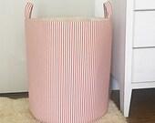 Classic Red Ticking Fabric Storage Laundry Hamper, Farmhouse Country, Red Ticking Stripe, Toy Nursery Organizer, Storage Hamper, Choose Size