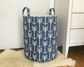 Navy Arrow Fabric Storage Laundry Hamper, Multiple Colors, Canvas Basket Fabric Organizer, Toy Nursery Storage Organizer - Choose Size