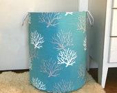 Coastal Coral Fabric Storage Laundry Hamper, Canvas Basket, Aqua Salmon or Grey, Toy Nursery Organizer, Multiple Colors and Sizes