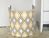 Diamond Fabric Storage Laundry Hamper, Canvas Basket, Annie Slub Yellow & Grey Fabric, Toy Nursery Organizer Hamper