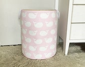 Whale Laundry Hamper, Large Canvas Basket, Whale Tales Twill Bella Pink & White Fabric, Toy Nursery Organizer, Hamper - Choose Size