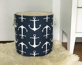 Sailor Navy Fabric Storage Laundry Hamper, Canvas Basket, Organizer, Toy Nursery Organizer, Storage Hamper - Choose Size