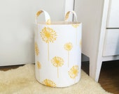 Yellow Dandelion Fabric Storage Laundry Hamper, Canvas Basket, Dandelion Flower, Coral, Toy Nursery Organizer, Storage Hamper - Choose Size