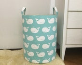 Whale Tales Laundry Hamper, Large Canvas Basket, Whale Tales Mint Green Fabric, Toy Nursery Organizer, Storage Hamper - Choose Size