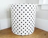 XL Fabric Storage Laundry Hamper, Canvas Basket, White and Black Polka Dot Fabric Organizer, Toy or Nursery Basket, Storage Bin