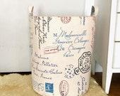 Richloom Postscript Paris Avion Fabric Storage Laundry Hamper, Canvas Basket, Organizer Bin, Toy Nursery Organizer, Storage Bucket