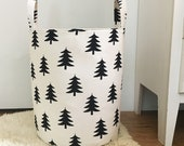 Scandinavian Style Hamper Pine Trees XL Fabric Storage Laundry Hamper, Woodland, Toy Nursery Fabric Organizer, Choose Size