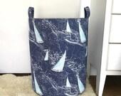 Sail Away Fabric Storage Laundry Hamper, Canvas Basket, Nautical Coastal Fabric Bin, Toy Nursery Organizer, Storage Hamper - Choose Size
