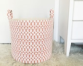 SALE! XL Fabric Storage Laundry Hamper, Canvas Basket, Swavelle Indre Ginger Nate Berkus Fabric, Toy Nursery Organizer, Storage Bucket