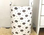 Cloud Fabric Hamper, Canvas Storage Basket, Laundry Hamper, Grey & White Clouds, Toy Storage, Nursery Organizer, Storage Bucket