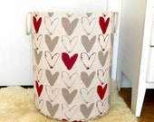 "Scandinavian Hearts Fabric Storage Laundry Hamper, Canvas Basket, Toy Nursery Fabric Organizer - Red Gray Natural Fabric  18"" Tall"