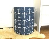 Sailor Anchor Navy Fabric Storage Laundry Hamper, Canvas Basket, Toy Nursery Organizer, Storage Hamper - Choose Size