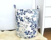 Cabrera Linen Blue Fabric Storage Laundry Hamper, Canvas Basket, Toy Nursery Organizer, Storage Bucket