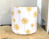 Yellow Dandelion Fabric Storage Laundry Hamper, Canvas Basket, Dandelion Yellow & White, Toy Nursery Organizer, Storage Hamper - Choose Size