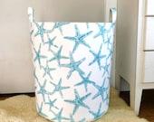 Star Fish Fabric Storage Laundry Hamper, Canvas Basket, Coastal Sea Star Fabric Bin, Toy Nursery Organizer, Storage Hamper - Choose Size