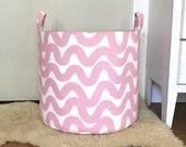 Wavy Taffy Pink Fabric Storage Laundry Hamper, Canvas Basket, Fabric Organizer, Toy Nursery Organizer, Storage Hamper, Snowy Blue