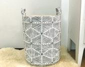 Summerland Grey Fabric Storage Laundry Hamper, Canvas Basket, Fabric Organizer, Toy Nursery Organizer, Storage Hamper - Choose Size