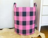 Navy & Pink Buffalo Check Fabric Storage Laundry Hamper, Plaid Gingham Fabric Toy Nursery Organizer Basket Hamper Choose Size
