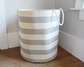 Coastal Stripe Fabric Storage Laundry Hamper, Canvas Basket, Coastal Grey Stripe Fabric, Toy Nursery Organizer, Storage Hamper - Choose Size