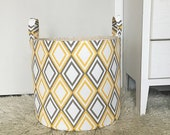 Yellow & Grey Diamond Fabric Storage Laundry Hamper, Canvas Basket, Toy Nursery Organizer Hamper