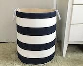 Navy & White Stripe Fabric Storage Laundry Hamper, Canvas Basket, Toy Nursery Organizer, Bin - Choose Size