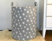 Grey Dandelion Fabric Storage Laundry Hamper, Canvas Basket, Fabric Organizer, Toy Nursery Organizer, Storage Hamper - Choose Size