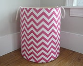 Candy Pink Chevron Fabric Storage Laundry Hamper, Canvas Basket, Toy Nursery Organizer, Storage Hamper - Choose Size