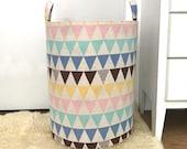 Triangle Fabric Storage Laundry Hamper, Scandinavian Canvas Basket, Multi Color, Modern Toy Nursery Organizer, Storage Hamper - Choose Size