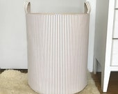 Classic Ticking Storage Hamper, Tan/Brown, Grey, Kiwi Green, or Pink Ticking Laundry Basket, Fabric Organizer Bin, Toy Nursery Storage Bin