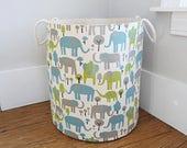 Elephant  Fabric Storage Laundry Hamper, Canvas Basket, Trunk Tales Elephants Fabric, Toy Nursery Organizer, Storage Hamper - Choose Size