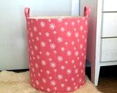 Coral Dandelion Fabric Storage Laundry Hamper, Canvas Basket, Fabric Organizer, Toy Nursery Organizer, Storage Hamper - Choose Size