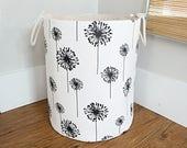 Dandelion Fabric Storage Laundry Hamper, Canvas Basket, Black and White Dandelion, Toy Nursery Organizer, Storage Hamper - Choose Size