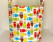 Owl Hamper, Large Canvas Basket, Laundry Hamper in Urban Zoologie Owls Bermuda, Toy Nursery Organizer, Storage Hamper - Choose Size
