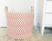 Burnt Orange Fabric Laundry Hamper, Canvas Basket, Swavelle Indre Ginger Nate Berkus Fabric, Toy Nursery Organizer, Rust, Storage Bucket