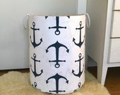 Navy Anchor Fabric Storage Laundry Hamper, Canvas Basket, Premier Prints Anchor Navy Organizer, Toy Nursery Organizer, Bin - Choose Size
