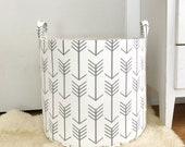 Grey Arrow Fabric Storage Laundry Hamper, Canvas Basket, White and Grey Arrow Fabric, Toy Nursery Organizer, Storage Hamper - Choose Size