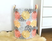 Bloom Fabric Storage Laundry Hamper, Canvas Basket, Blooms Chili Pepper, Toy Nursery Organizer, Storage Bucket