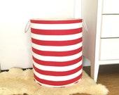 Red White Stripe Fabric Storage Laundry Hamper, Canvas Basket, Toy Nursery Organizer, Bin - Choose Size
