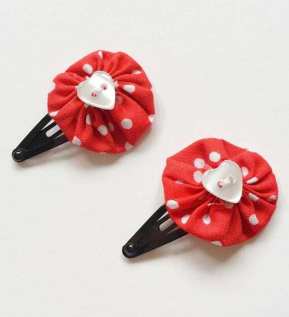 Pinces A Cheveux Fleur Rouge Fleur Rouge Accessoires Pour Cheveux