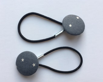 Pretty grey and cream star hair ties, ponytail holders, fabric button hairband, covered fabric button, ponytail ties