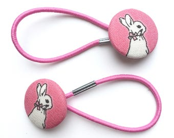 Pretty Peter Rabbit pink fabric hair ties, ponytail holders, fabric button hairband, covered fabric button, ponytail ties,