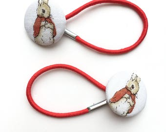 Pretty Peter Rabbit white and red fabric hair ties, ponytail holders, fabric button hairband, covered fabric button, ponytail ties,