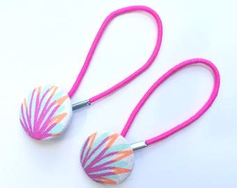 Pretty pineapple print fabric hair ties, ponytail holders, fabric button hairband, covered fabric button, ponytail ties