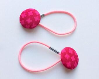 Pretty pink hair ties, ponytail holders, fabric button hairband, covered fabric button, ponytail ties