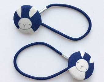 Cute navy rabbit button hair ties, ponytail holders, fabric button hairband, covered fabric button, ponytail ties